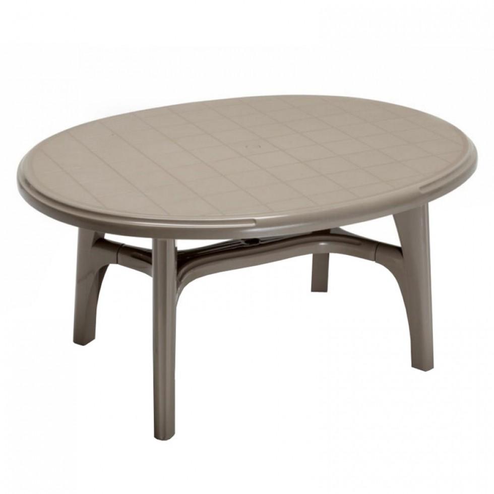 Tavoli Da Giardino Resina Scab.Scab Tavolo Resina Ovale Cm 150x113 Ovolone Tortora Scab