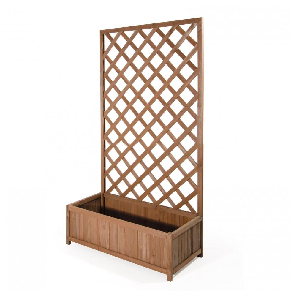 Fioriera in legno con spalliera harmony big for Fioriera rettangolare con spalliera