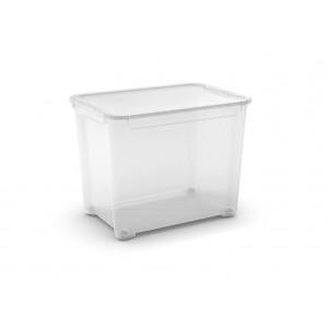 CONTENITORE T-BOX XL TRASPARENTE CON RUOTE E COPERCHIO