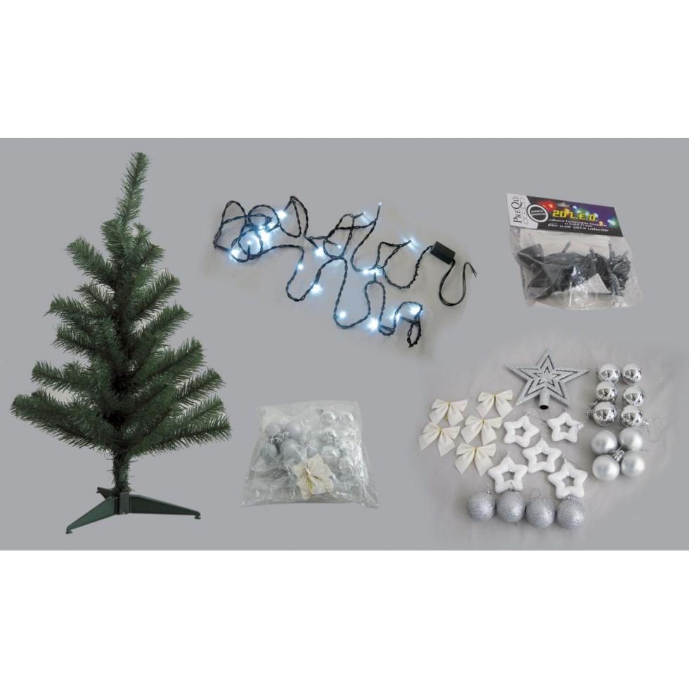 Albero Di Natale Bianco 90 Cm.Kit Albero Di Natale Con Addobbi E Luci Argento E Bianco Cm 90