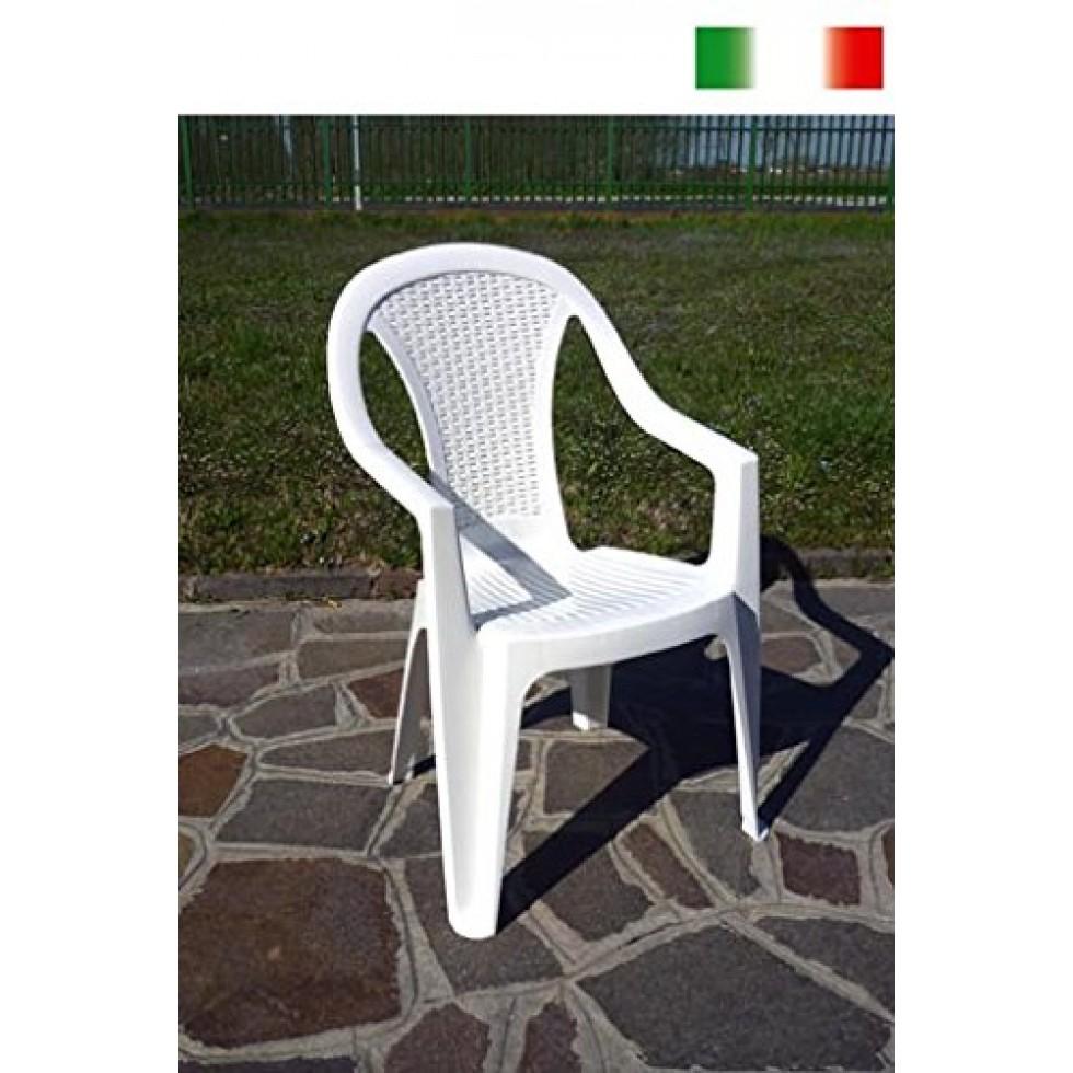 Bica sedia alta resina rattan pasadena bianca for Sedia alta