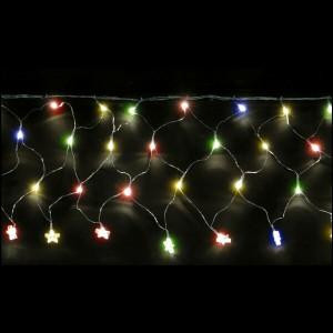 FASCIA RETE 200 LED MULTICOLORE CON STELLINE IN ACRILICO MT.4 X 0.50