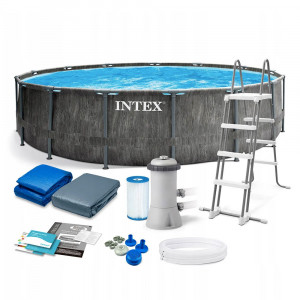 INTEX PISCINA GREYWOOD CM.457 x 122 POMPA FILTRO+SCALA+TELO BASE+COPERTURA cod.26742