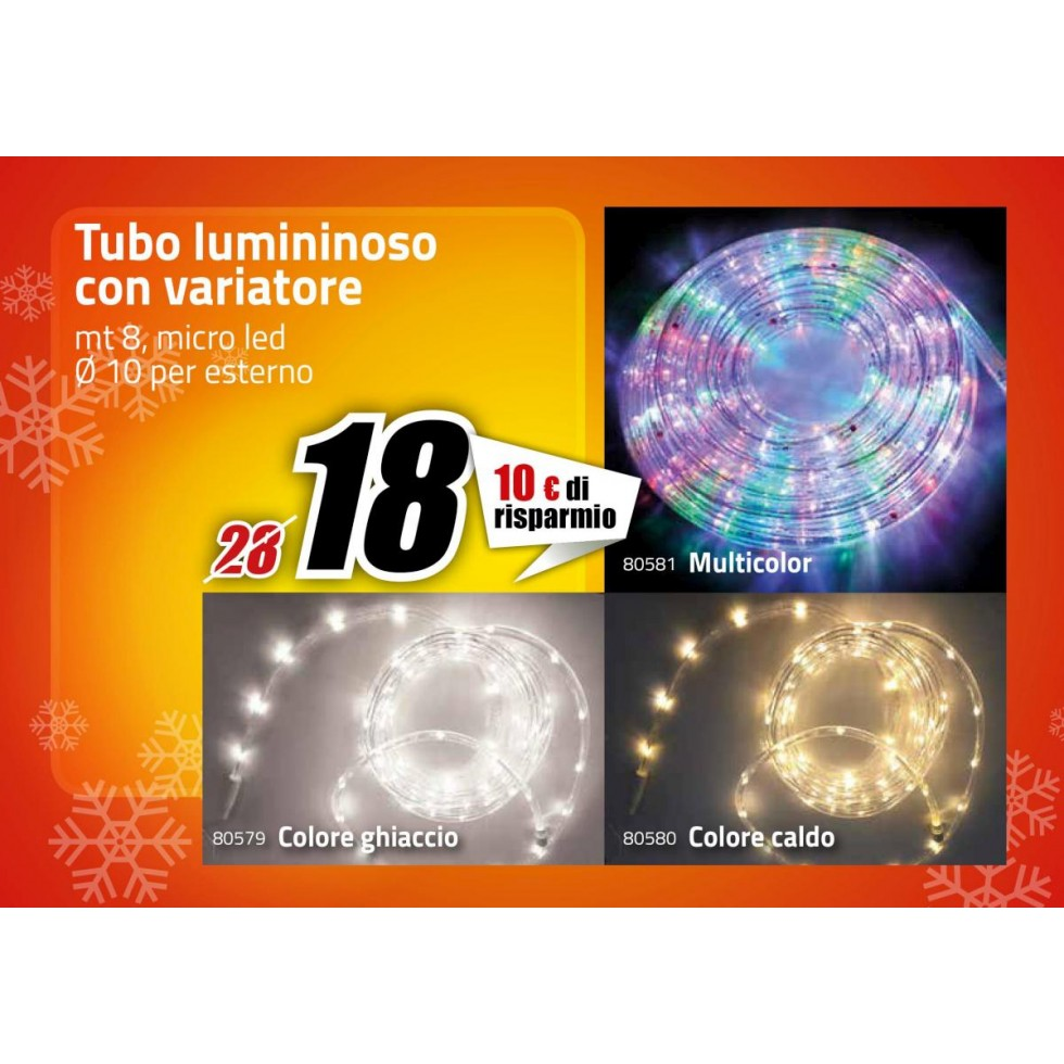 Tubo led micro luce bianca mt 8 for Led luce bianca
