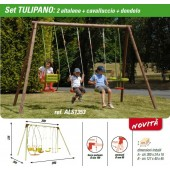 NEW PLAST ALTALENA LEGNO TULIPANO 2 TAVOLETTE + CAVALLUCCIO + DONDOLO