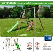 NEW PLAST ALTALENA LEGNO GIRASOLE 1 TAVOLETTA + CAVALLUCCIO + SCIVOLO + SCALA IN CORDA